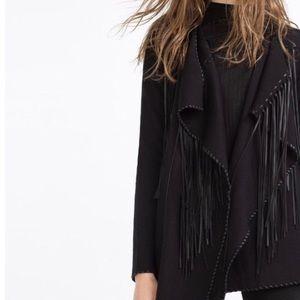 Zara Knitwear Collection Fringe Jacket